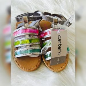 Clear Neon Carters sandals for toddler girls size8